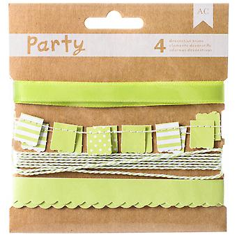DIY Party Decorative Trims 4/Pkg-Green & White 369828