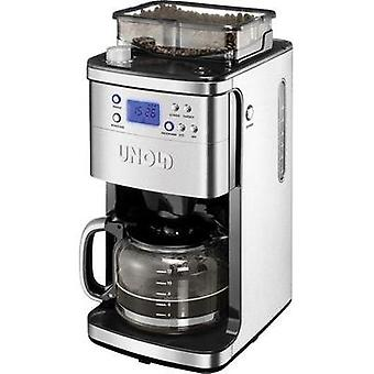 Coffee maker Unold Stainless steel, Black Cup volume=12 Display, Glass jug, Timer, Plate warmer, incl. grinder