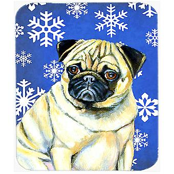 Pug Winter Snowflakes Holiday Mouse Pad, Hot Pad or Trivet