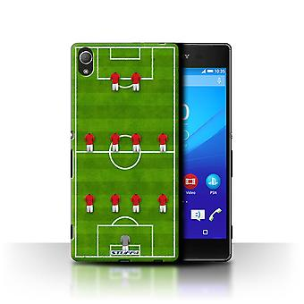 STUFF4 Case/Cover for Sony Xperia Z3+/Plus/4-4-2/Red/Football Formation