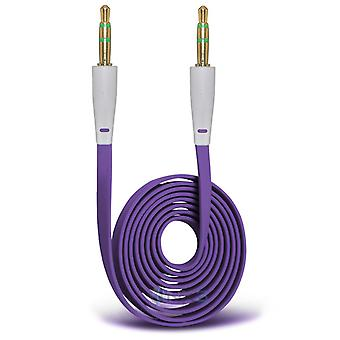 OnePlus 2 Gold Plated 3.5mm Jack To Jack Connection Aux Auxiliary Audio Flat Cable (Purple)