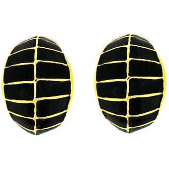 Kenneth Jay Lane Gold & Black Enamel Semi Hoop Clip On Earrings