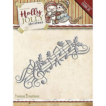 Find It Trading Yvonne Creations Holly Jolly Die-Music Border YCD10070