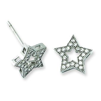 Sterling Silver Pave Rhodium-plated and Cubic Zirconia Brilliant Embers Star Post Earrings