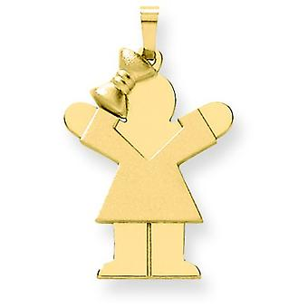 14k Yellow Gold Solid Engraveable Girl with Bow on Left Charm - 2.4 Grams