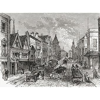 Briggate Leeds Yorkshire Inglaterra a finales del siglo XIX de nuestro país publicado 1898 PosterPrint