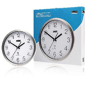 Balance Radio-Controlled Wall Clock 30 cm Analogue Silver and White