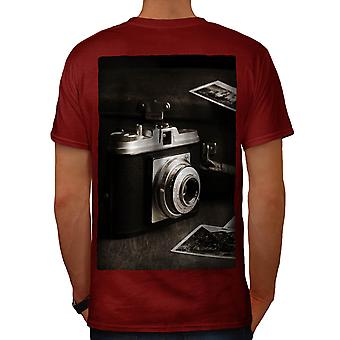 Old Photo Camera Men Red T-shirt Back | Wellcoda
