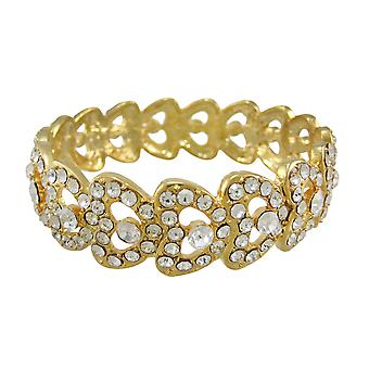 Goldtone strass täckt armband armband