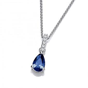 Cavendish French Delicate Sapphire CZ and Silver Teardrop Pendant