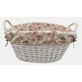 White Finish Garden Rose Lined Wash Basket