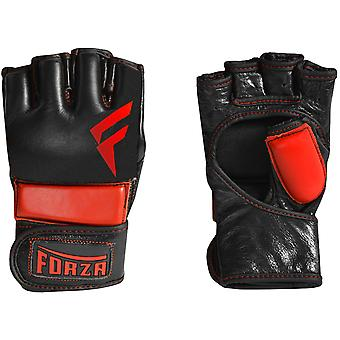 Forza Sports Leather MMA Training Gloves - Black/Red