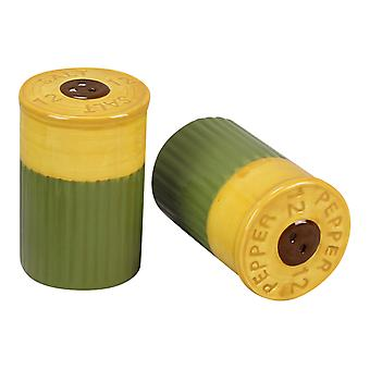 Hunters Shot Gun Shells Shaped Ceramic Salt and Pepper Shaker Set
