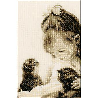 Girls & Kittens On Aida Counted Cross Stitch Kit-6.75