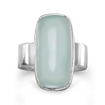 Sterling Silber 19.5mmx10mm Oval Meer grüner Chalcedon Ring - Ring-Größe: 6 bis 9