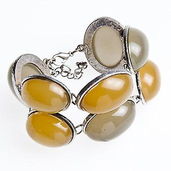 Camille Womens Ladies Chunky Half Bead Silver Plated Bracelet With Grey And Yellow Beads