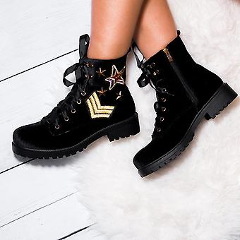 Spylovebuy HERMAN Ribbon Lace Up Cleated Sole Embroidered Flat Ankle Boots Shoes - Black Velvet Style