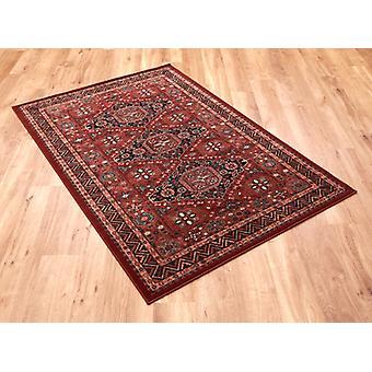 Kashqai 4308_300 rot und rotbraunen Boden mit Diamant-Formation in der Mitte und ein Zick-Zack-Grenze. Rechteck Teppiche traditionelle Teppiche