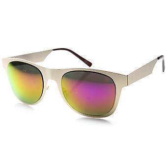 Retro-flache gehörnten Metallrand Spiegel Linsen Sonnenbrillen