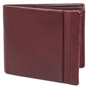 Dents Smooth Punched Leather Bifold and Coin Wallet - Claret Red