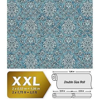 Baroque wallpaper EDEM 6001-95 non-woven wallpaper imprinted with ornaments glittering Turquoise Silver petrol 10.65 m2
