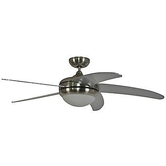 Ceiling fan Makkura Chrome brushed / silver blades with remote control