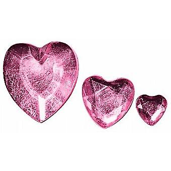 SALE -  310 Heart Shaped Acrylic Rhinestones for Crafts - Pink