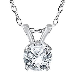 3/4ct Diamond Solitaire Pendant 14K White Gold Womens Necklace Enhanced