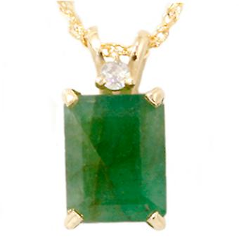 Yellow Gold 1ct Emerald & Diamond Solitaire Pendant