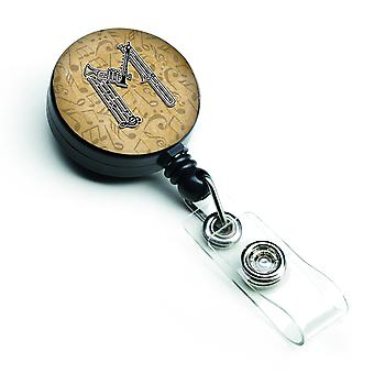 Letter M muziekinstrument alfabet intrekbare Badge Reel