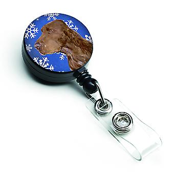 Field Spaniel Winter Snowflakes Holiday Retractable Badge Reel