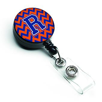 Letter R Chevron Orange and Blue Retractable Badge Reel