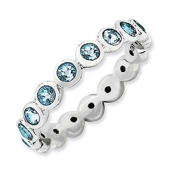 3.5mm Sterling Silver Stackable Expressions March Crystal Ring - Ring Size: 5 to 10