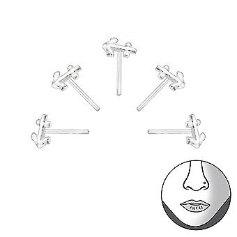 Set Of 5 Silver Anchor Nose Studs - 925 Sterling Silver Nose Studs