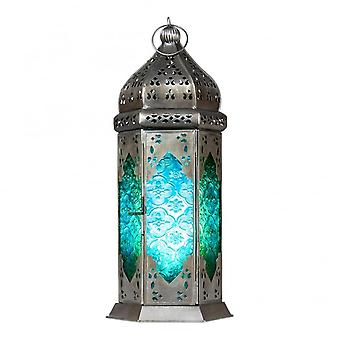 Boutique Camping Moroccan Long Glass Lantern Green/Blue