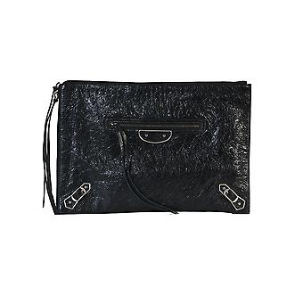 Balenciaga women's 390186D940B1000 black leather clutch