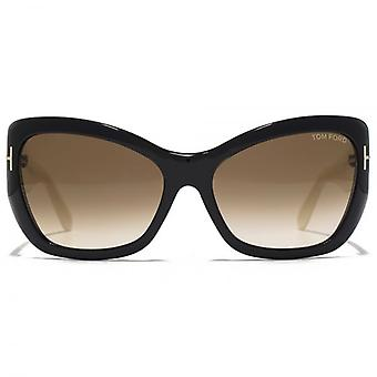 Tom Ford Corinne Sunglasses In Shiny Black & Ivory
