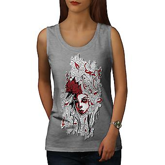 Woman Art Girl Fashion Women GreyTank Top | Wellcoda