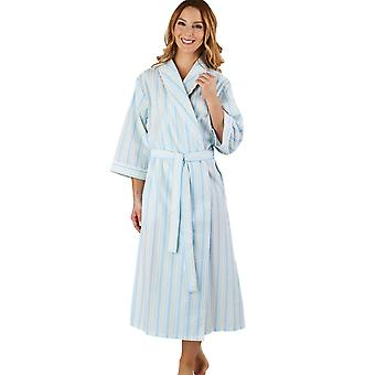 Slenderella HC1225 Women's Stripe Seersucker Blue Dressing Gown Loungewear Bath Robe 3/4 Length Sleeve Robe