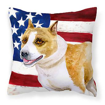 American Staffordshire Patriotic Fabric Decorative Pillow