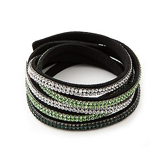 3 Rangs bracelet adorned with Swarovski White and Green Crystals and Black Leather