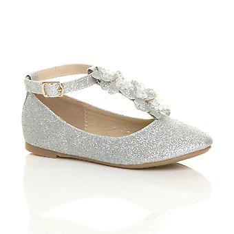 Ajvani girls flat t-bar glitter wedding bridesmaid dressing up costume princess shoes ballerinas