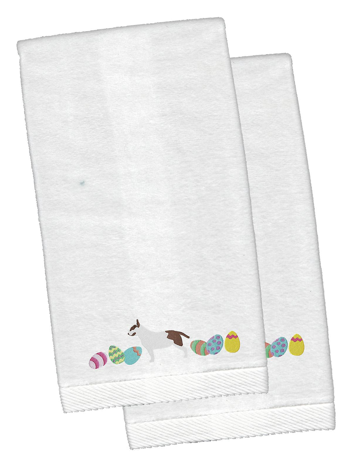 Bull Terrier Easter White Embroidered Plush Hand Towel Set of 2