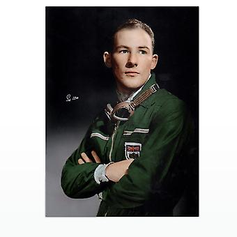 Stirling Moss Signed Portrait Photo
