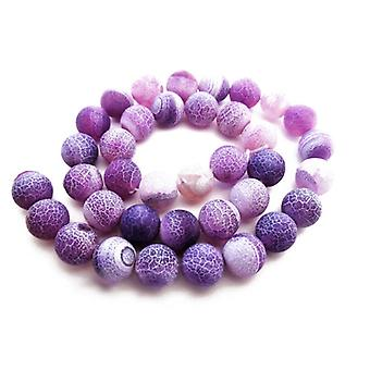 Packet 8 x Purple Frosted Cracked Agate 8mm Plain Round Beads VP1450