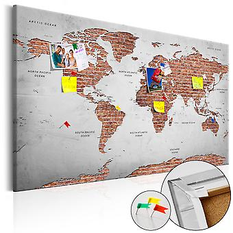 Decorativa Pinboard-Brick World [Cork mapa]