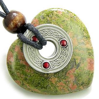 Celtic Triquetra knude beskyttelse Amulet Unakite Gemstone hjerte vedhæng halskæde