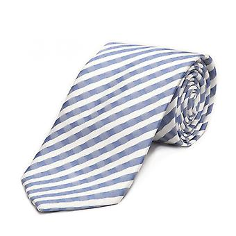 Nouer la cravate cravate 8cm bleu Fabio Farini blanc rayé