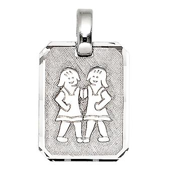 Pendant star sign twins 925 sterling silver rhodium plated partly frosted
