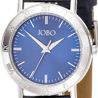 JOBO men's wristwatch quartz analog stainless steel leather bracelet blue